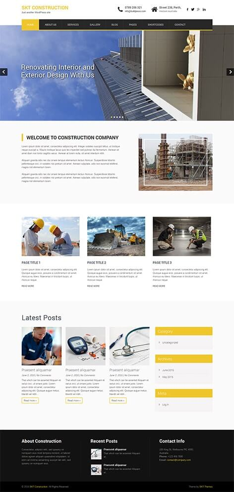 free construction WordPress theme