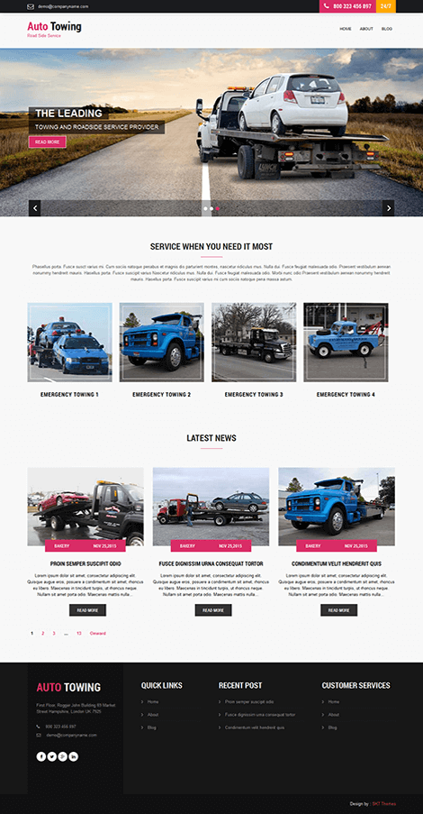 Free Transportation WordPress theme for towing of trucks and cars-Towing