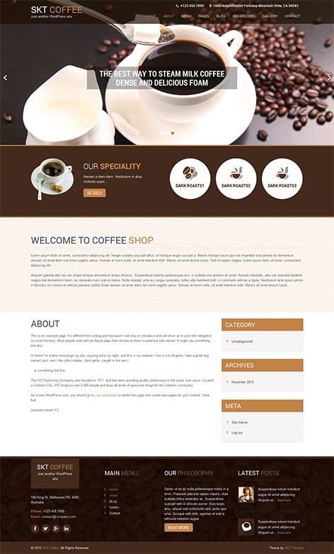 free cafe WordPress theme