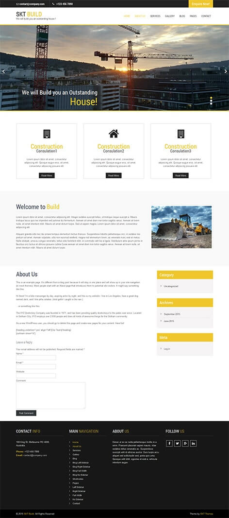 free concrete developer WordPress theme
