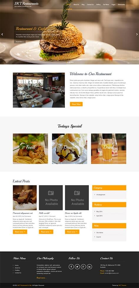 free restaurant WordPress theme