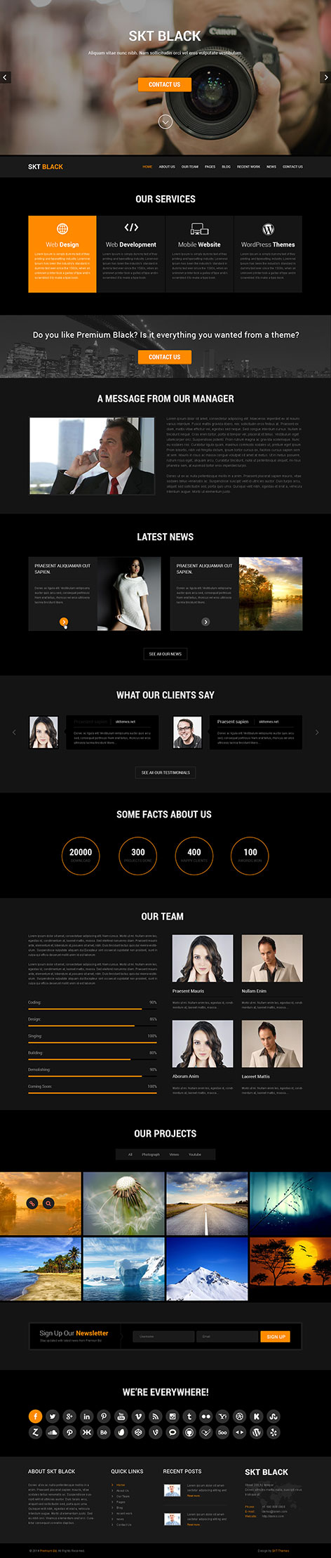 free black WordPress theme