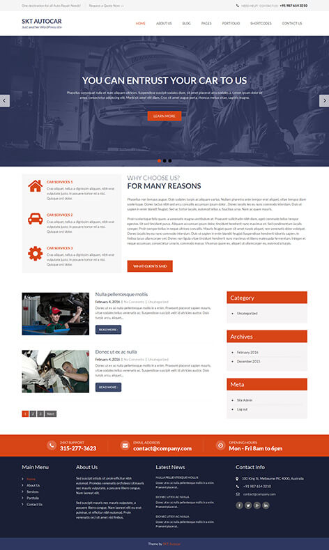 free car repair WordPress theme