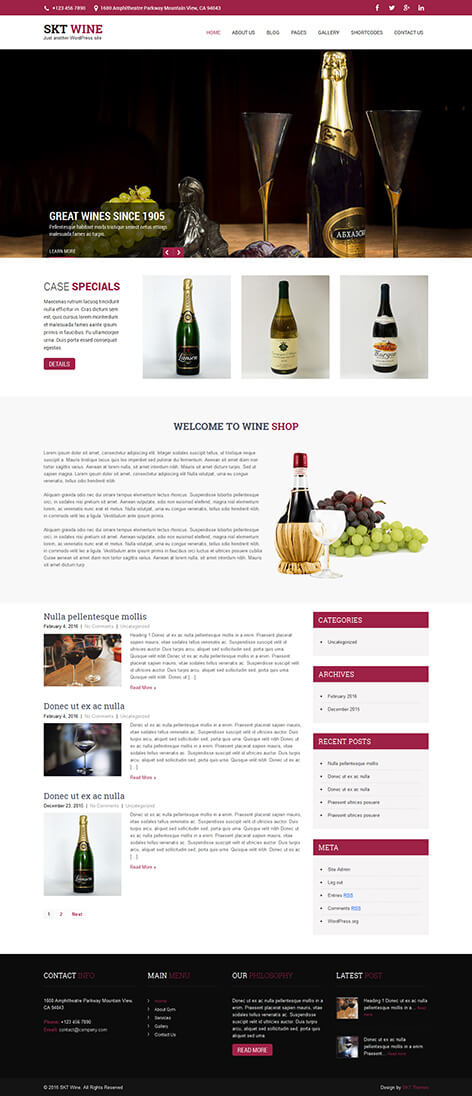 free food wine WordPress theme