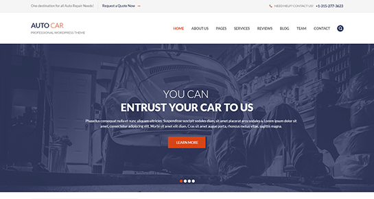 free car dealer and repair WordPress theme