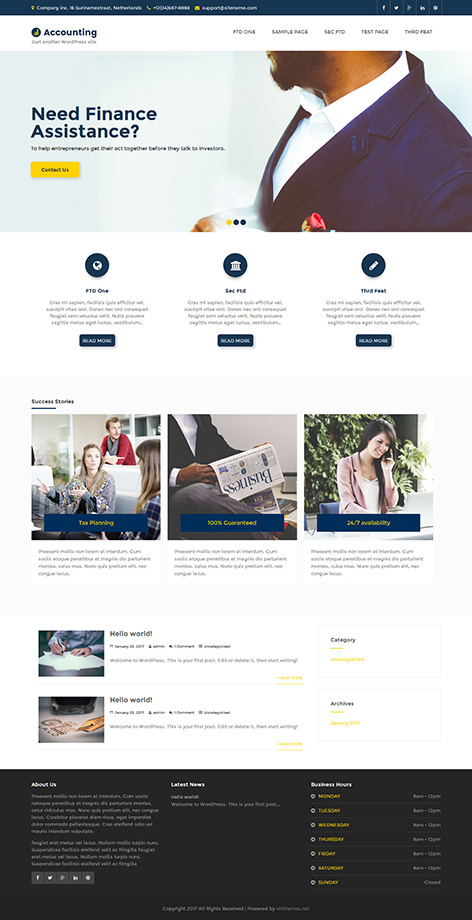 free accounting firm WordPress theme