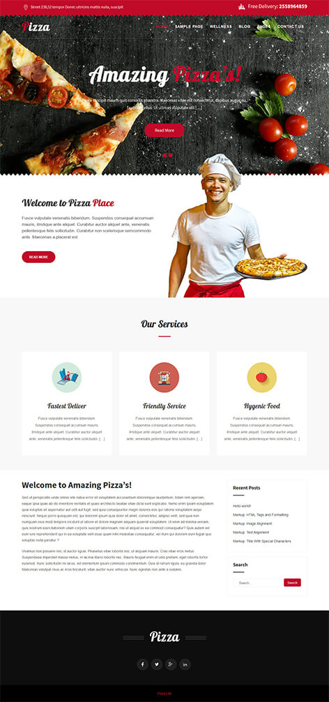 Free Pizza Wordpress Theme