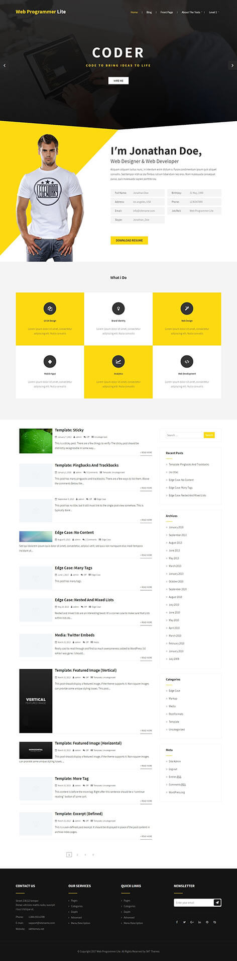 Free designer WordPress theme