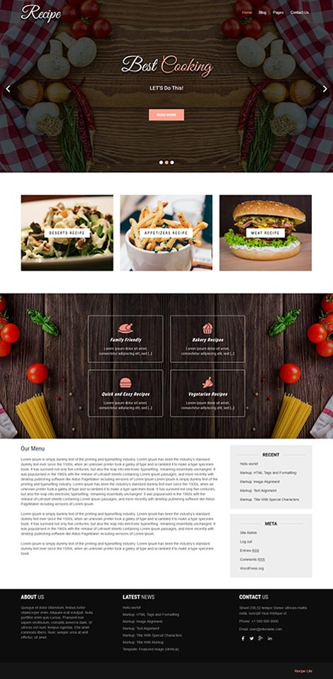 Free recipe WordPress theme