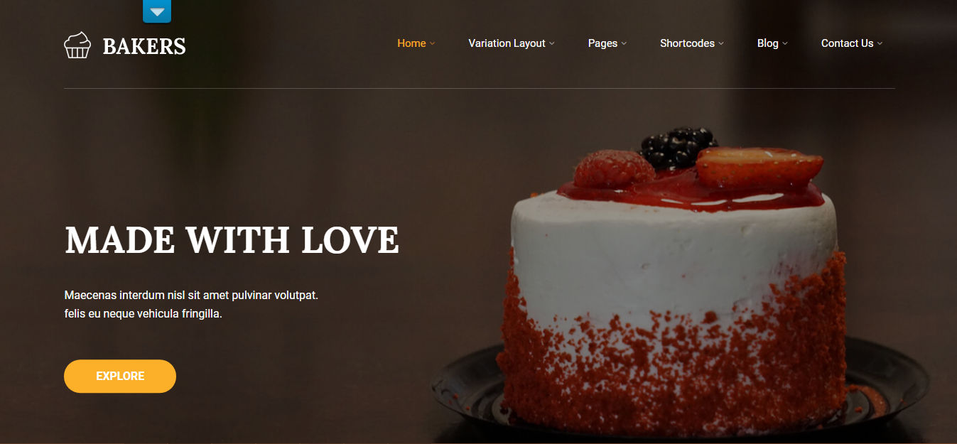 free bakers shop wordpress theme