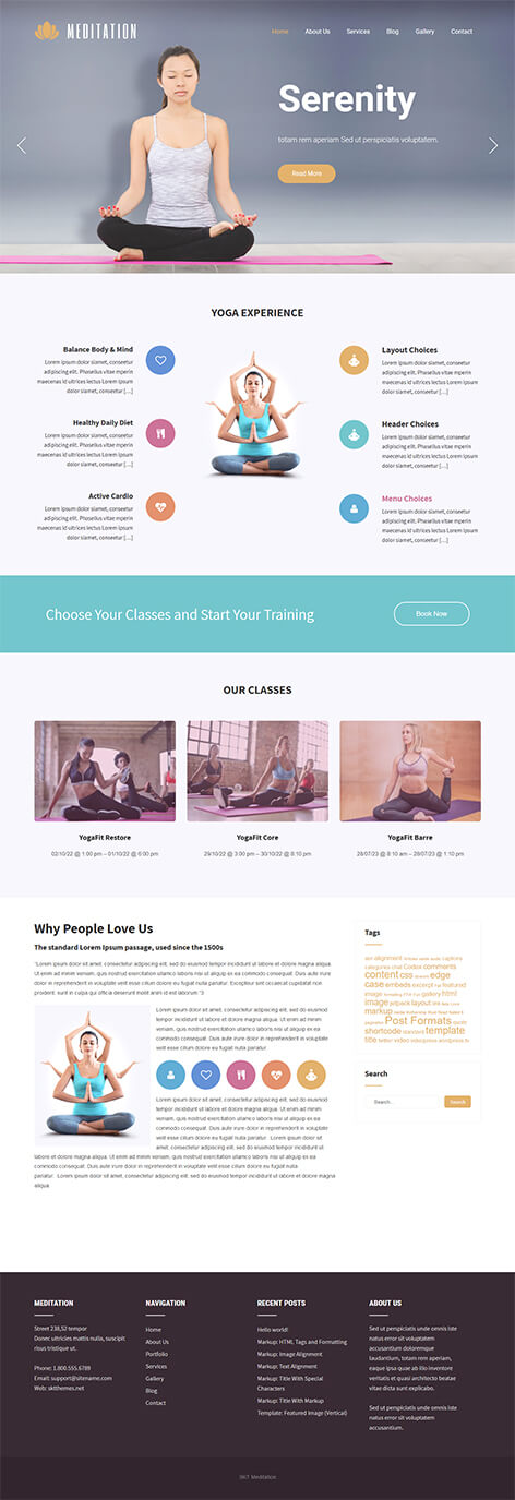 free yoga studio WordPress theme
