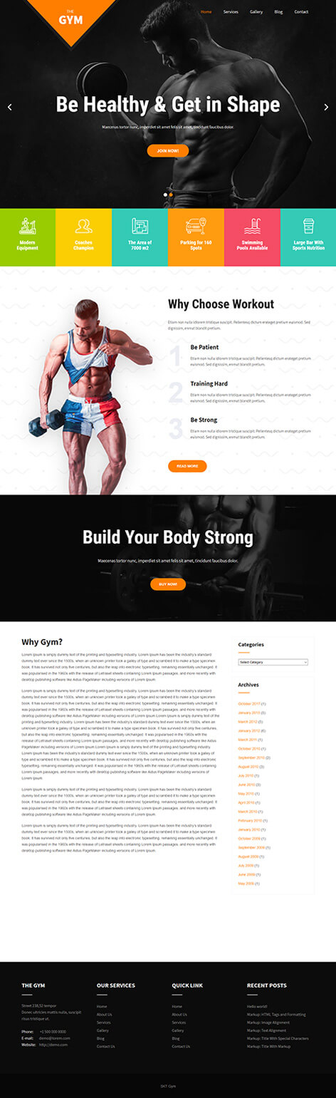 free fitness trainer WordPress theme