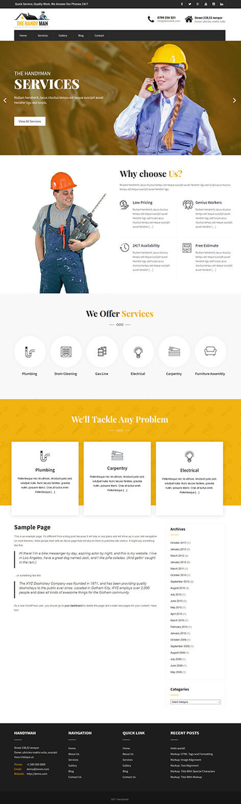 free home services WordPress theme