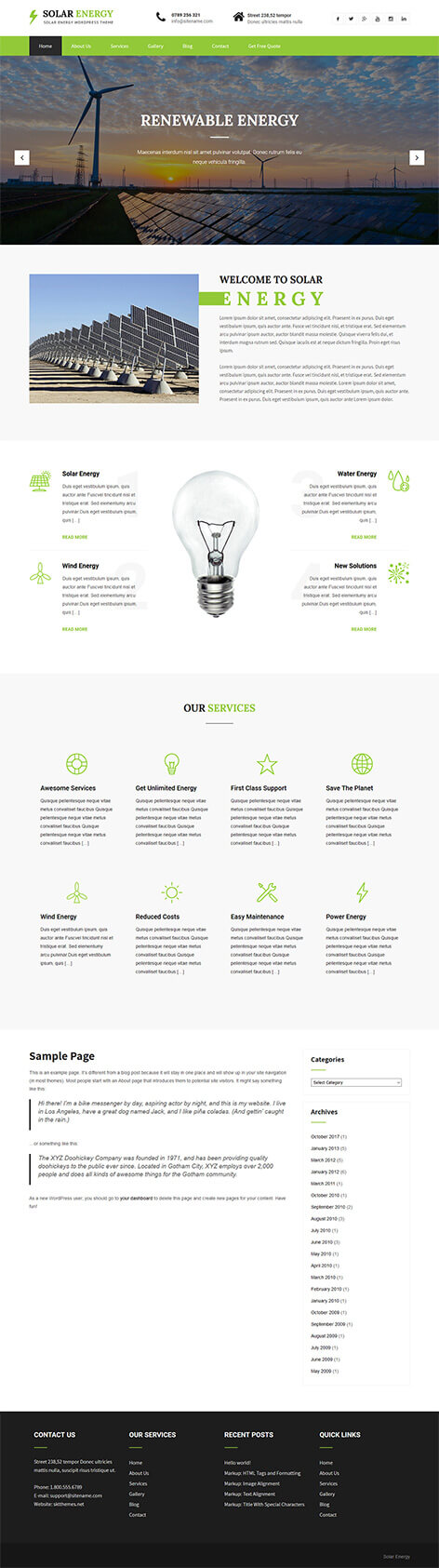 free renewable energy WordPress theme
