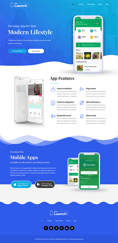 Free Android App WordPress Theme