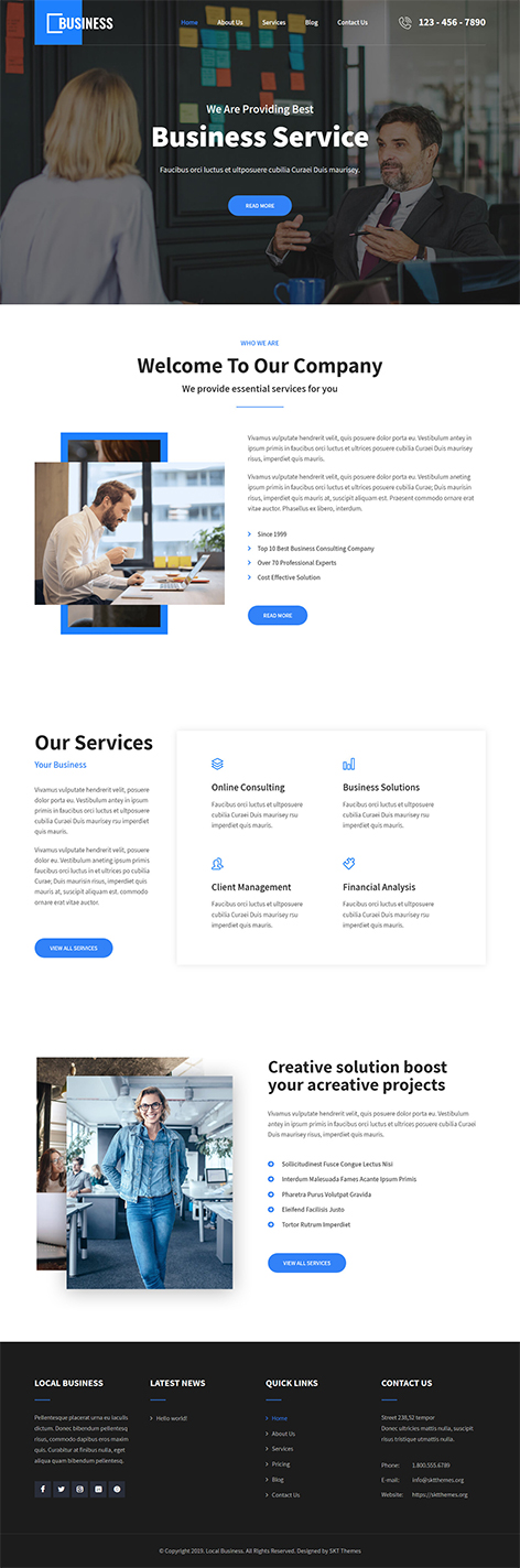 Free Small Business WordPress Theme