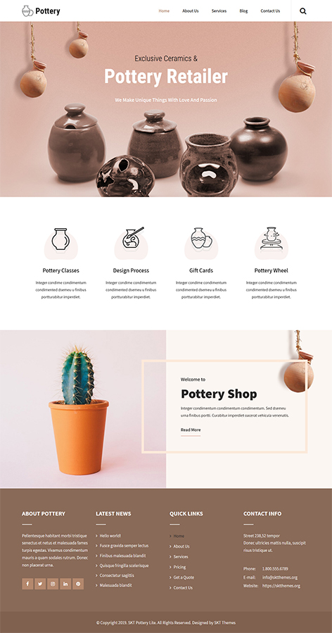 Free Ceramic WordPress Theme