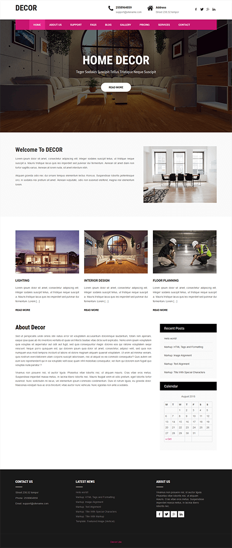 free home decorations wordpress theme