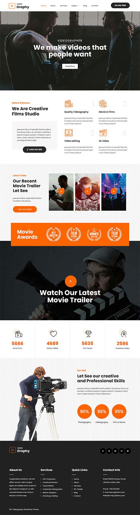 free video production WordPress theme